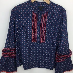 J. Crew | Navy Patterned Bell Sleeve Blouse